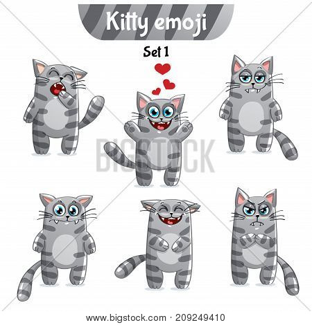 Set kit collection sticker emoji emoticon emotion vector isolated illustration happy character sweet, cute gray smoky striped cat