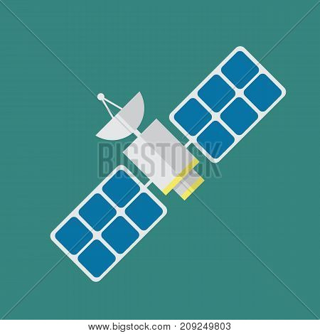 Satellite in flat style. Vector illustration graphic design