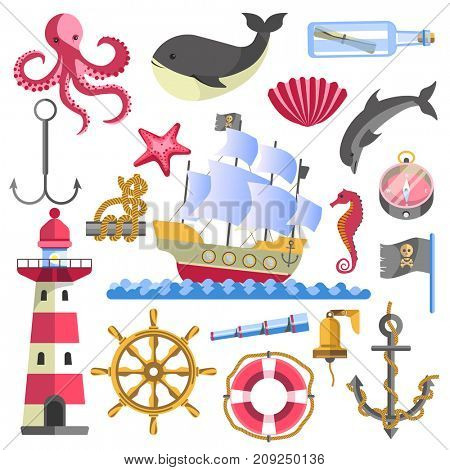 Marine theme traditional sea elements on white.  poster of ship on water, striped lighthouse, glass bottle with rolled paper, round lifebuoy and anchor, seafish and bell emblems logo collection