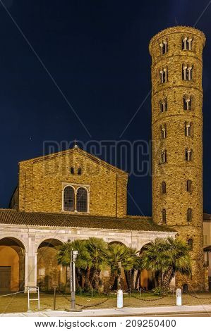 Evening. The Basilica of Sant Apollinare Nuovo is a basilica church in Ravenna Italy. It was erected by Ostrogoth King Theodoric as his palace chapel during the first quarter of the 6th century