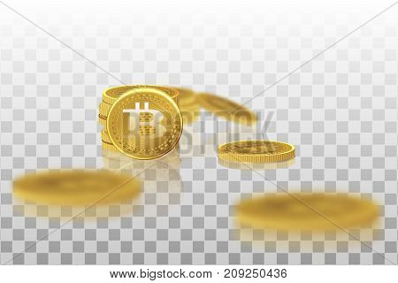 Bitcoin. Physical bit coin. A digital currency. The cryptocurrency. Gold coin with the bitcoin symbol isolated on a transparent background.