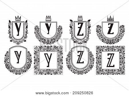 Isolated vintage monograms set. Heraldic logos with Y, Z letter. Black coats of arms in wreaths, round and square frames.