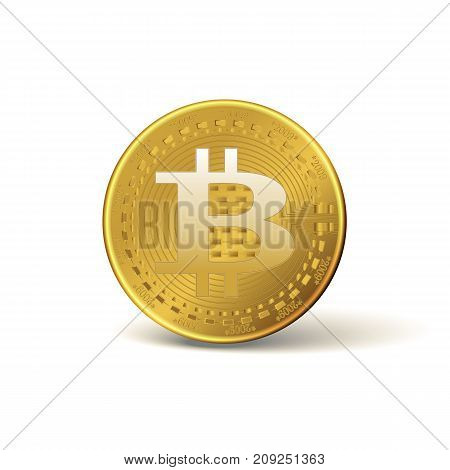 Bitcoin. Physical bit coin. A digital currency. Gold coin with the bitcoin symbol isolated on white background.