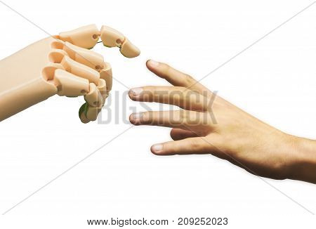 The Birth of Artificial Intelligence. Communication between human and robot. Hands isolated on white background.