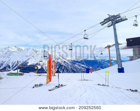 Winter ski resort Courmayeur, Italian Alps. Mountains, restaurants, chair lifts and cable car station