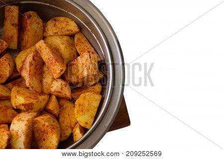 Healthy Homemade Baked Sweet Potato Fries Isolated