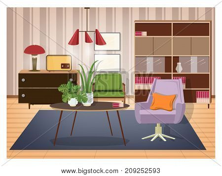Colorful interior of living room furnished in old fashioned style. Retro furnishings and decor - swivel armchair, coffee table, lamp, radio transmitter, sideboard, pendant light. Vector illustration poster