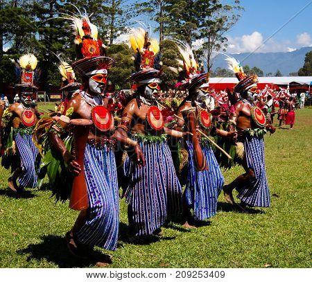Participants of the Mount Hagen local tribe festival - 17.08.2014 Mount Hagen Papua new Guinea