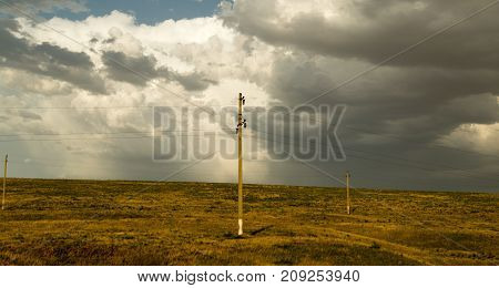 landscape of nature with an electric pillar .