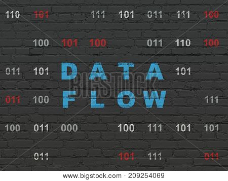 Information concept: Painted blue text Data Flow on Black Brick wall background with Binary Code