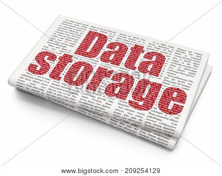 Information concept: Pixelated red text Data Storage on Newspaper background, 3D rendering