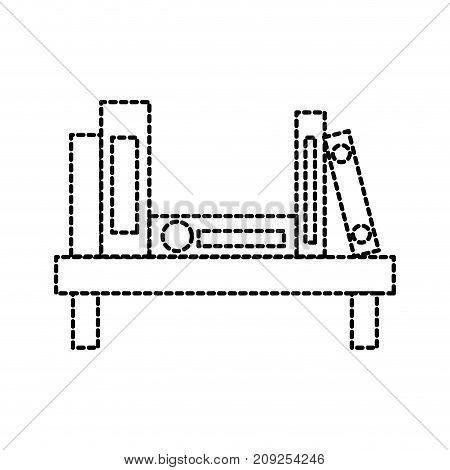 wooden bookshelf folder book literature office vector illustration