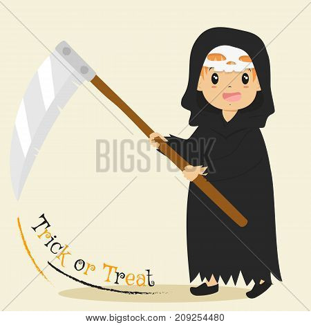 a boy wearing grim reaper costume and mask, and holding a big scythe with both hands. Halloween cartoon vector
