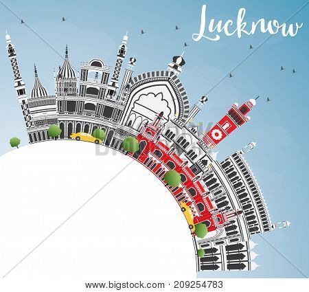 Lucknow Skyline with Gray Buildings, Blue Sky and Copy Space. Business Travel and Tourism Concept with Historic Architecture.