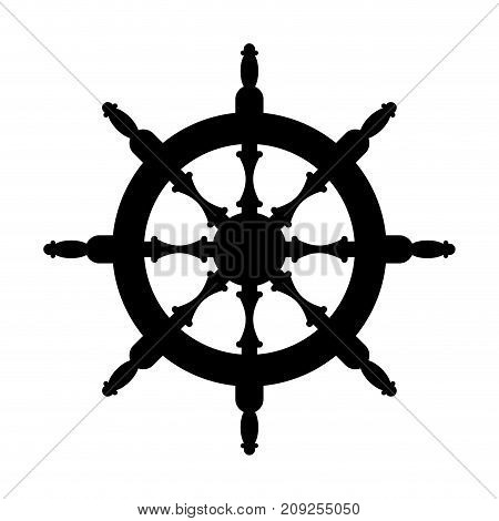 Steering Wheel Silhouette Isolated. Steering Wheel Ship White Background. Witcher Illustration