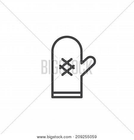 Oven mitt line icon, outline vector sign, linear style pictogram isolated on white. Pot holder symbol, logo illustration. Editable stroke
