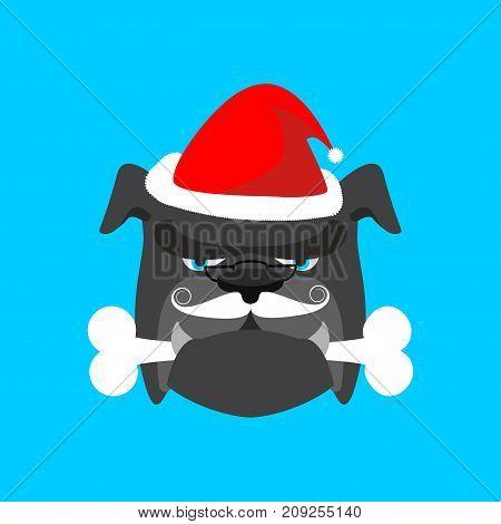 Santa Dog And Bone. Christmas Home Pet. Xmas And New Year Vector Illustration