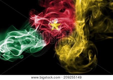 Cameroon smoke flag isolated on black background