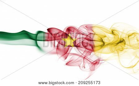 Cameroon smoke flag isolated on a white background
