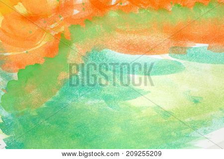 Abstract art backgrounds. Hand-painted background. Green and orange colors