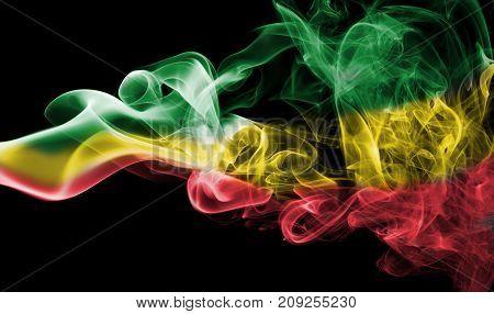 Ethiopia smoke flag isolated on black background