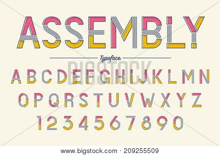 Assembly vector decorative font design alphabet typeface typography Vector illustration
