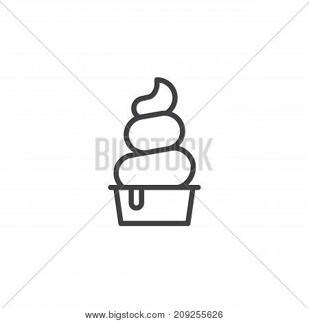 Frozen yogurt line icon, outline vector sign, linear style pictogram isolated on white. Symbol, logo illustration. Editable stroke