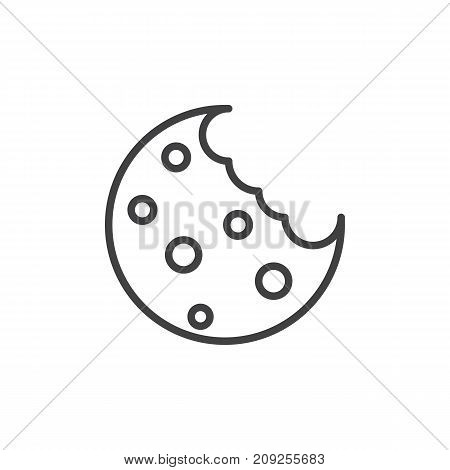 Cookie with fine chips line icon, outline vector sign, linear style pictogram isolated on white. Symbol, logo illustration. Editable stroke