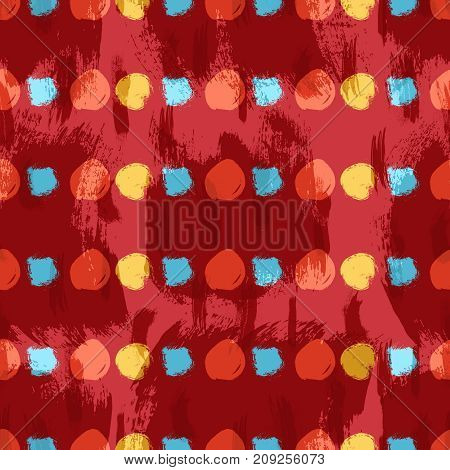 Vector seamless pattern with circles brush strokes. Colorful doodle. Grunge background. Abstract hand drawn illustration.