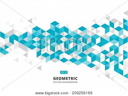 abstract blue geometric background with polygonal triangles cube pattern.Template design with color triangle for brochure leaflet flyer design. Vector Illuatration
