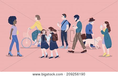 People on street. Men and women of different age passing by, walking, standing, riding bicycle, listen to music. Modern city dwellers, urban lifestyle. Hand drawn vector illustration
