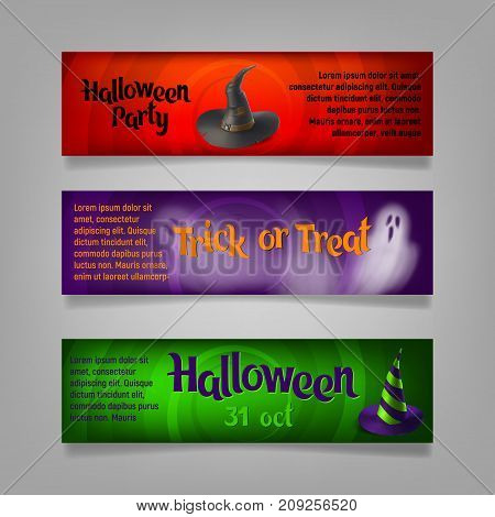 Three Halloween banners. Vector ilustration. Wizard's hats and ghosts.