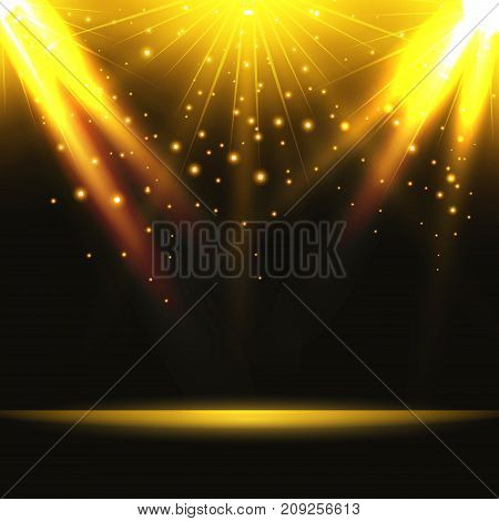 Abstract background. Magic light with gold burst on stage. Vector illustration