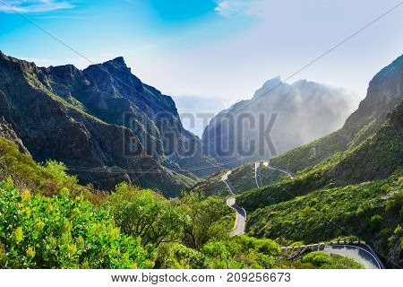 Serpentine road at high altitude towards Maska village, on Los Gigantes mountain - Tenerife, Spain