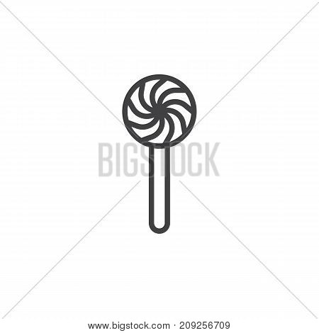 Sweet lollypop line icon, outline vector sign, linear style pictogram isolated on white. Symbol, logo illustration. Editable stroke