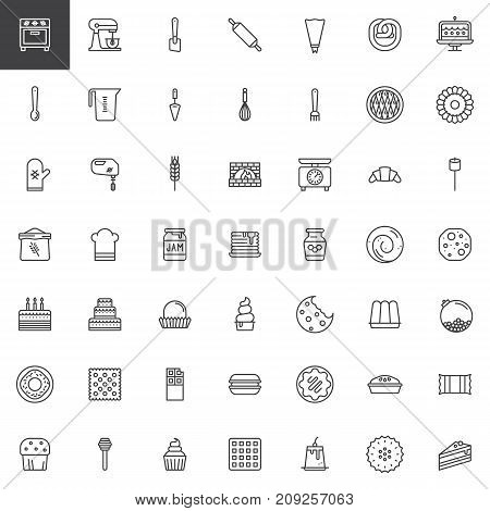 Sweets dessert and kitchen utensils line icons set, outline vector symbol collection, linear style pictogram pack. Signs, logo illustration. Set includes icons as oven, sweets, chef hat, cake, dessert