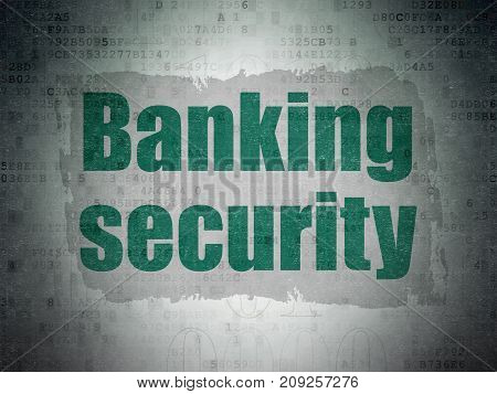 Security concept: Painted green text Banking Security on Digital Data Paper background with   Binary Code