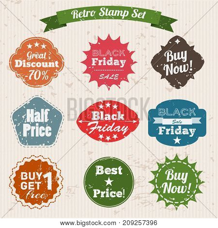 Sale grunge vintage stamp set with words half price great discount buy now and others flat vector illustration