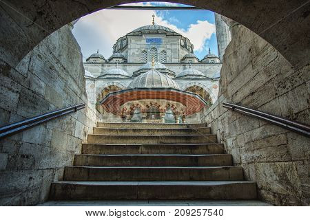 View of Sokollu Mehmet Pasha Mosque from stairs of courtyard, is an Ottoman mosque located in Kadirga by architect Sinan