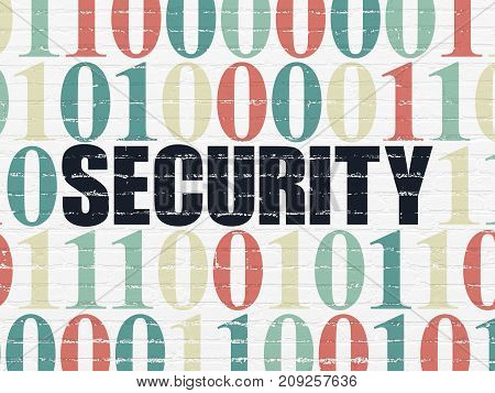 Security concept: Painted black text Security on White Brick wall background with Binary Code