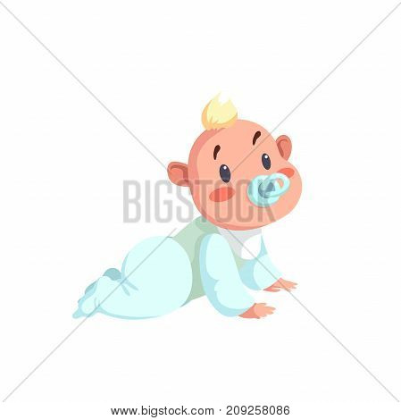 Cartoon trendy design baby character. Vector illustration in simple gradient style. Child with dummy crawl.