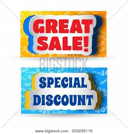 Two colored horizontal banners with paper stickers and advertising about great sale and special discount flat vector illustration