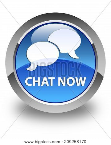 Chat Now Glossy Blue Round Button