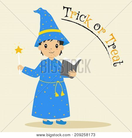 a wizard holding a magic wand and a grey spell book. Halloween cartoon vector