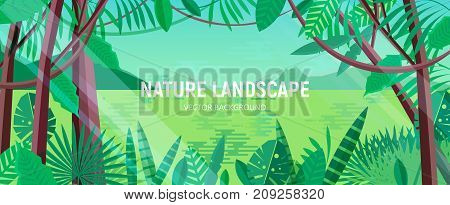Beautiful landscape with green leaves of tropical trees and plants growing in exotic rainforest or jungle against lake, hills and sky on background. Horizontal backdrop. Cartoon vector illustration