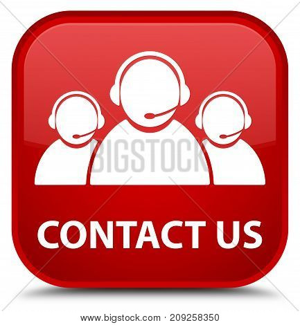 Contact Us (customer Care Team Icon) Special Red Square Button