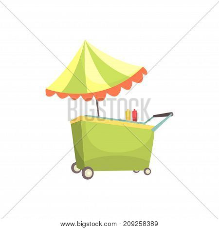 Fast food kiosk on wheels, market stall for external usage cartoon vector Illustration isolated on a white background
