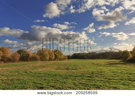Colorful autumn landscape with a field. Evening. The sky with heavy white clouds. Picture, Wallpapers, calendar.