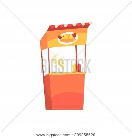 Food stall with hot dogs, fixed market stall for external usage cartoon vector Illustration isolated on a white background