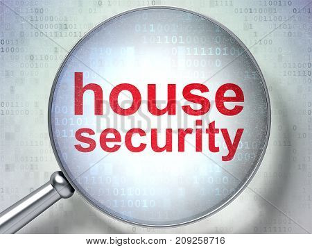 Safety concept: magnifying optical glass with words House Security on digital background, 3D rendering